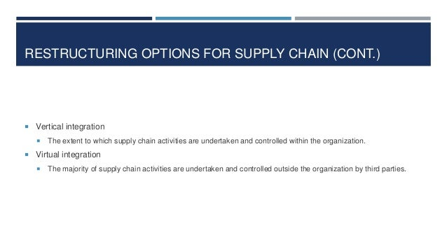 RESTRUCTURING OPTIONS FOR SUPPLY CHAIN (CONT.)   Vertical integration   The extent to which supply chain activities are ...