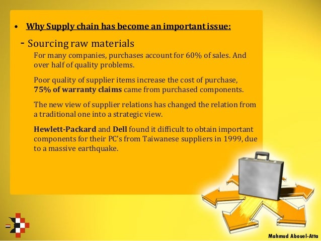• Why Supply chain has become an important issue: - Sourcing raw materials For many companies, purchases account for 60% o...