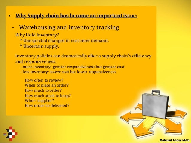 • Why Supply chain has become an important issue: - Warehousing and inventory tracking Why Hold Inventory? * Unexpected ch...