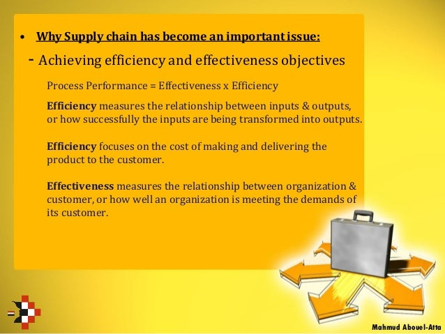 • Why Supply chain has become an important issue: - Achieving efficiency and effectiveness objectives Process Performance ...