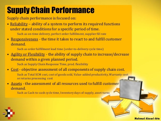 Supply Chain Performance Supply chain performance is focused on: • Reliability – ability of a system to perform its requir...