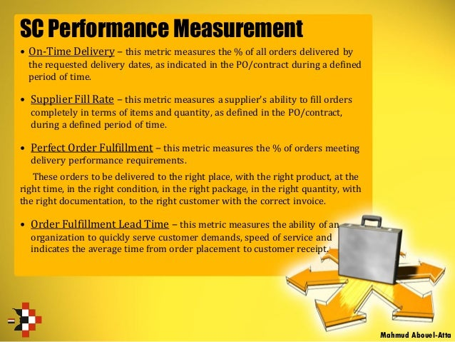 SC Performance Measurement Mahmud Abouel-Atta • On-Time Delivery – this metric measures the % of all orders delivered by t...