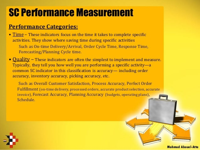 SC Performance Measurement Performance Categories: • Time – These indicators focus on the time it takes to complete specif...