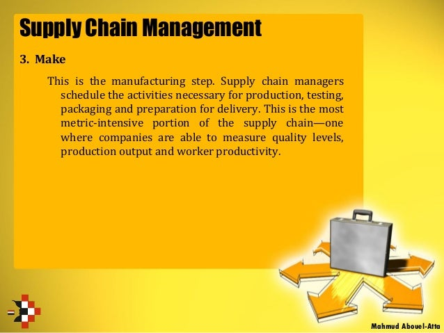 Supply Chain Management 3. Make This is the manufacturing step. Supply chain managers schedule the activities necessary fo...