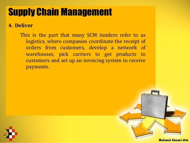 Supply Chain Management 4. Deliver This is the part that many SCM insiders refer to as logistics, where companies coordina...