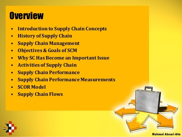 Overview • Introduction to Supply Chain Concepts • History of Supply Chain • Supply Chain Management • Objectives & Goals ...