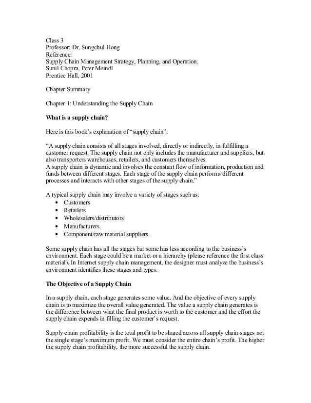 Class 3Professor: Dr. Sungchul HongReference:Supply Chain Management Strategy, Planning, and Operation.Sunil Chopra, Peter...