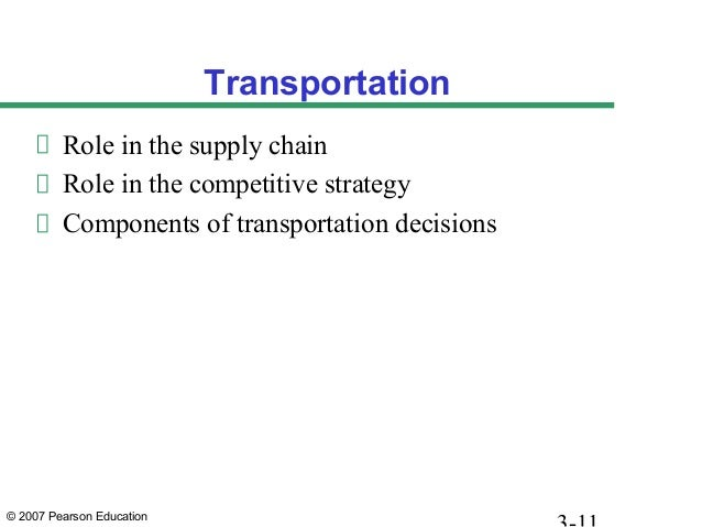 © 2007 Pearson Education Transportation Role in the supply chain Role in the competitive strategy Components of transporta...