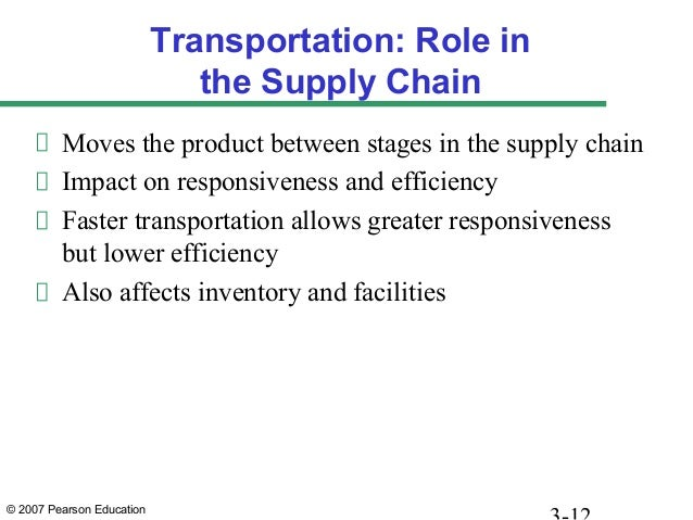 © 2007 Pearson Education Transportation: Role in the Supply Chain Moves the product between stages in the supply chain Imp...