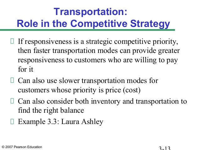 © 2007 Pearson Education Transportation: Role in the Competitive Strategy If responsiveness is a strategic competitive pri...