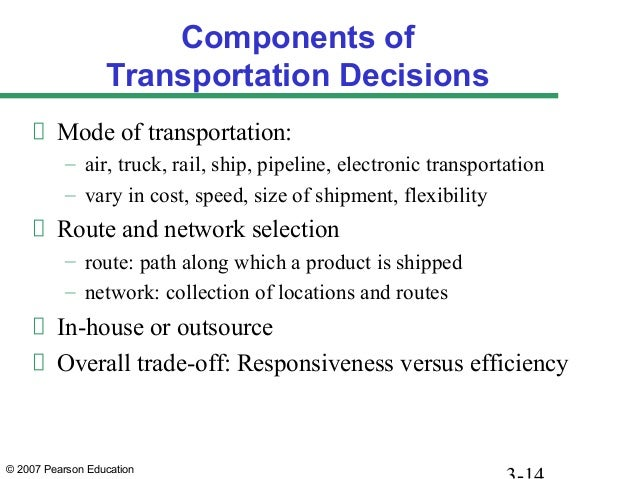 © 2007 Pearson Education Components of Transportation Decisions Mode of transportation: – air, truck, rail, ship, pipeline...