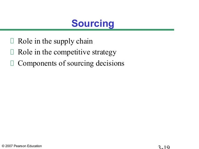 © 2007 Pearson Education Sourcing Role in the supply chain Role in the competitive strategy Components of sourcing decisio...