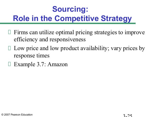 © 2007 Pearson Education Sourcing: Role in the Competitive Strategy Firms can utilize optimal pricing strategies to improv...