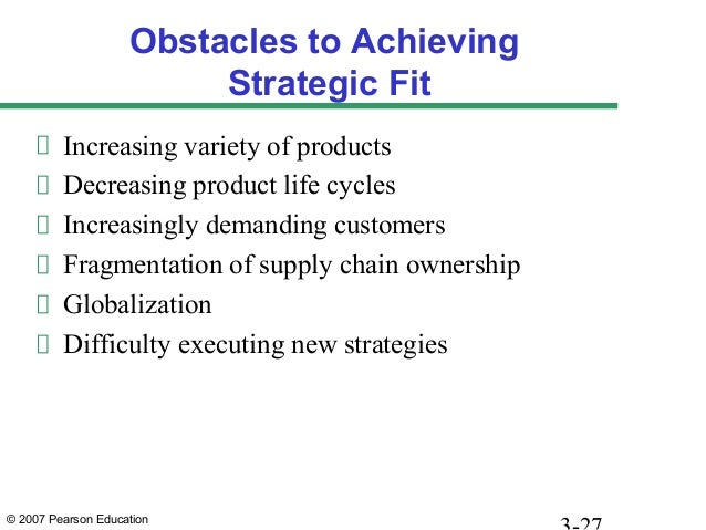 © 2007 Pearson Education Obstacles to Achieving Strategic Fit Increasing variety of products Decreasing product life cycle...