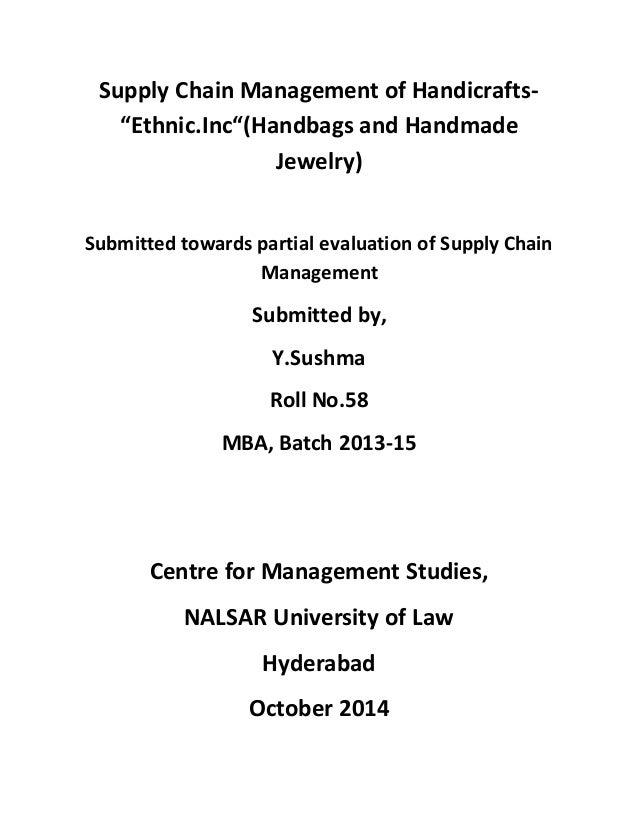 supply chain management of handicrafts paper supply chain management of handicrafts ldquoethnic incldquo handbags and handmade jewelry