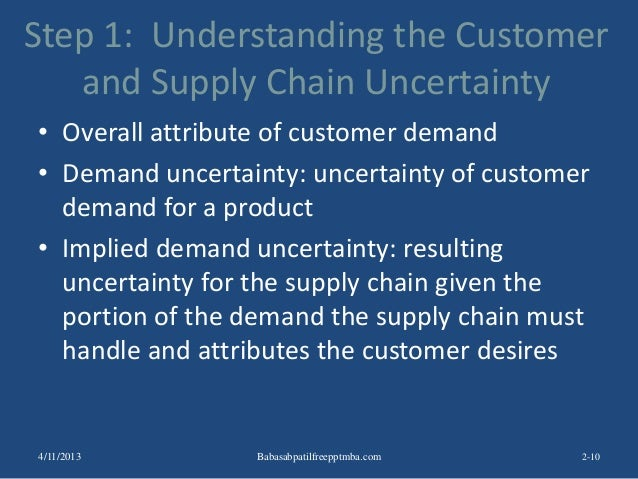 Step 1: Understanding the Customer and Supply Chain Uncertainty • Overall attribute of customer demand • Demand uncertaint...
