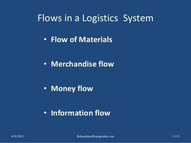 Flows in a Logistics System • Flow of Materials • Merchandise flow • Money flow • Information flow 4/11/2013 2-113Babasabp...