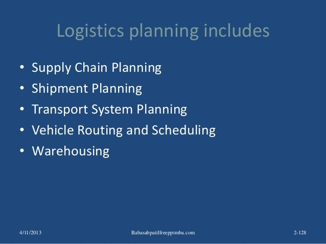 Logistics planning includes • Supply Chain Planning • Shipment Planning • Transport System Planning • Vehicle Routing and ...
