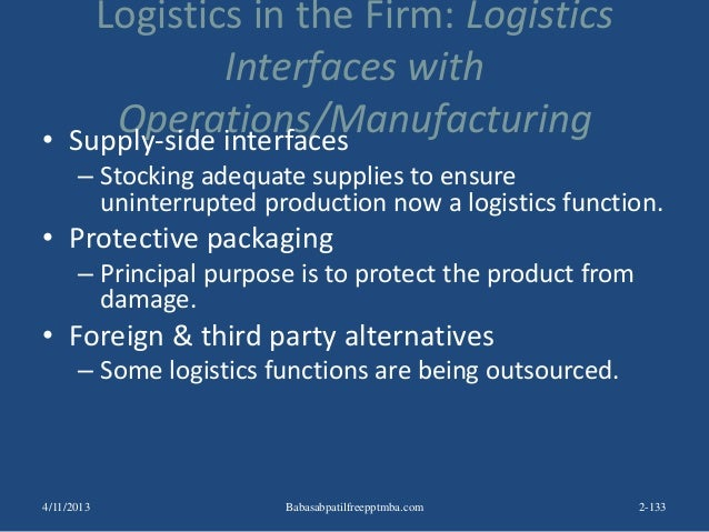 Logistics in the Firm: Logistics Interfaces with Operations/Manufacturing• Supply-side interfaces – Stocking adequate supp...