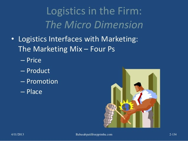 Logistics in the Firm: The Micro Dimension • Logistics Interfaces with Marketing: The Marketing Mix – Four Ps – Price – Pr...