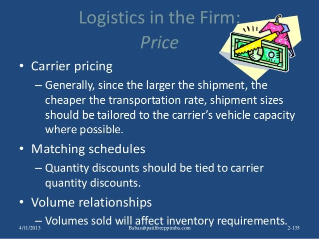 Logistics in the Firm: Price • Carrier pricing – Generally, since the larger the shipment, the cheaper the transportation ...