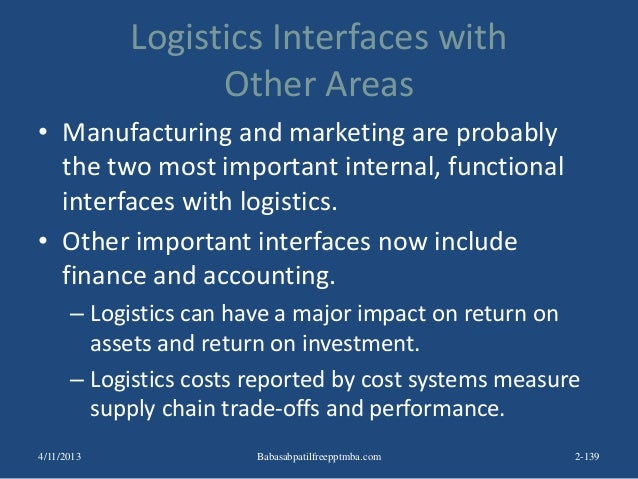 Logistics Interfaces with Other Areas • Manufacturing and marketing are probably the two most important internal, function...