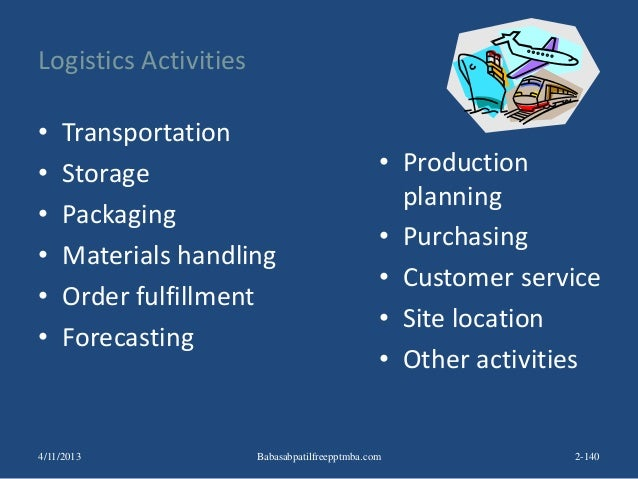 Logistics Activities • Transportation • Storage • Packaging • Materials handling • Order fulfillment • Forecasting • Produ...