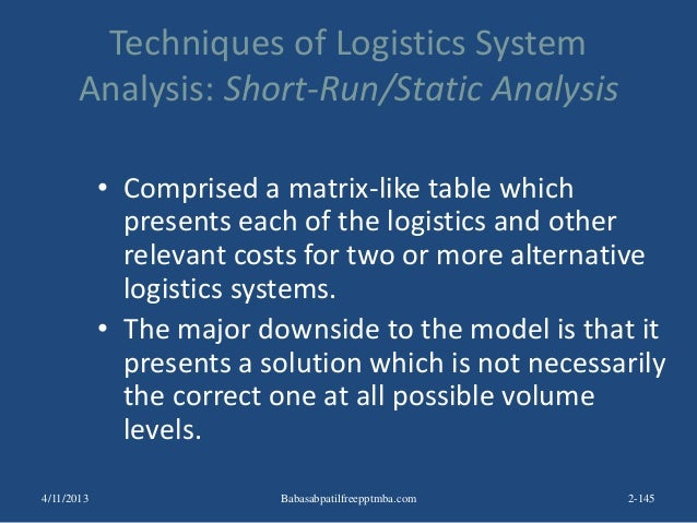 Techniques of Logistics System Analysis: Short-Run/Static Analysis • Comprised a matrix-like table which presents each of ...