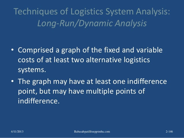 Techniques of Logistics System Analysis: Long-Run/Dynamic Analysis • Comprised a graph of the fixed and variable costs of ...