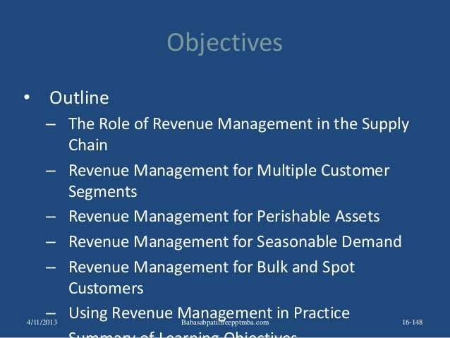 Objectives • Outline – The Role of Revenue Management in the Supply Chain – Revenue Management for Multiple Customer Segme...