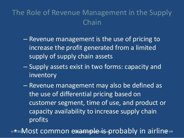 The Role of Revenue Management in the Supply Chain – Revenue management is the use of pricing to increase the profit gener...
