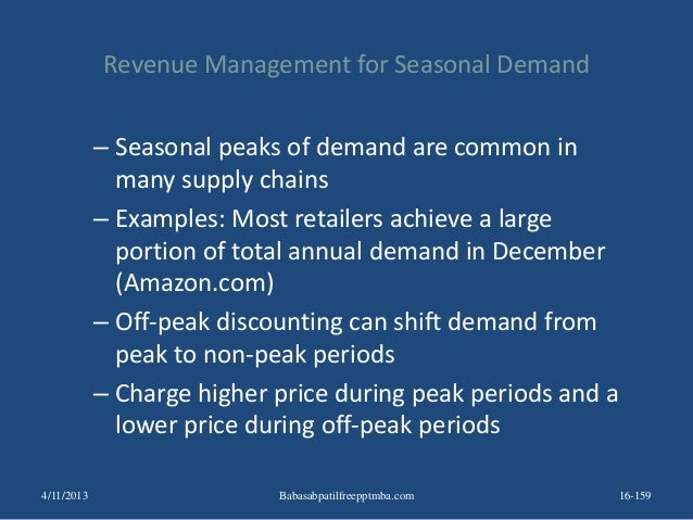 Revenue Management for Seasonal Demand – Seasonal peaks of demand are common in many supply chains – Examples: Most retail...