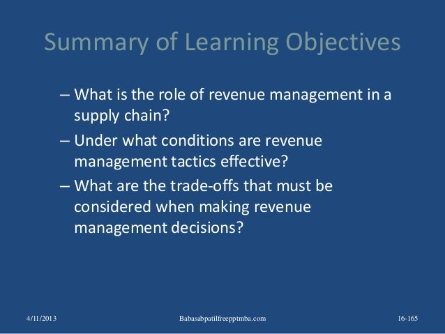 Summary of Learning Objectives – What is the role of revenue management in a supply chain? – Under what conditions are rev...