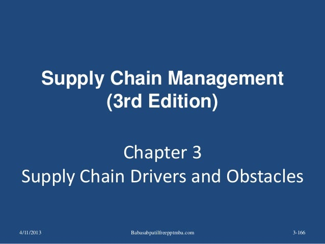 Chapter 3 Supply Chain Drivers and Obstacles 3-166 Supply Chain Management (3rd Edition) 4/11/2013 Babasabpatilfreepptmba....
