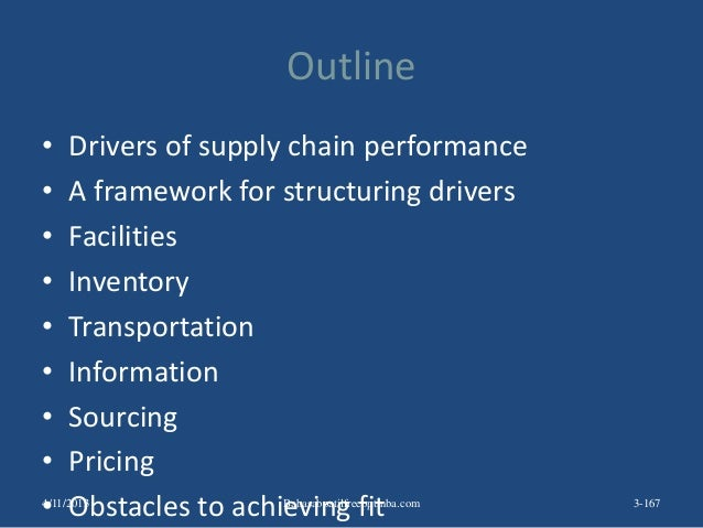 Outline • Drivers of supply chain performance • A framework for structuring drivers • Facilities • Inventory • Transportat...