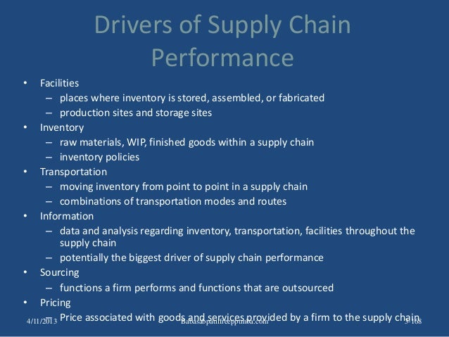 Drivers of Supply Chain Performance • Facilities – places where inventory is stored, assembled, or fabricated – production...