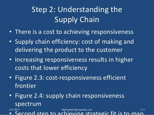 Step 2: Understanding the Supply Chain • There is a cost to achieving responsiveness • Supply chain efficiency: cost of ma...