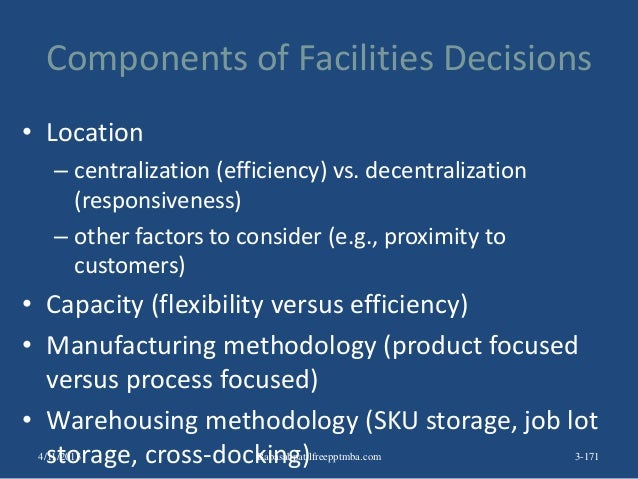 Components of Facilities Decisions • Location – centralization (efficiency) vs. decentralization (responsiveness) – other ...