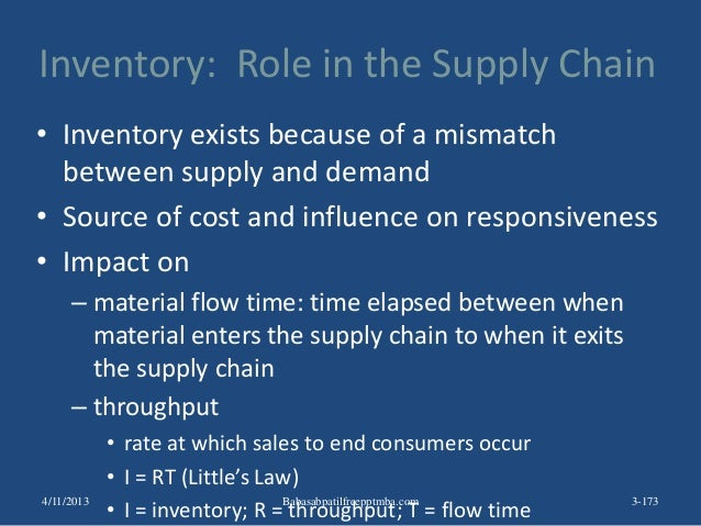 Inventory: Role in the Supply Chain • Inventory exists because of a mismatch between supply and demand • Source of cost an...