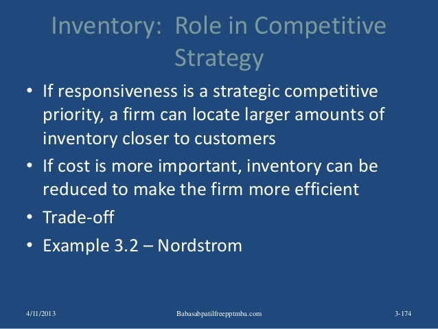 Inventory: Role in Competitive Strategy • If responsiveness is a strategic competitive priority, a firm can locate larger ...