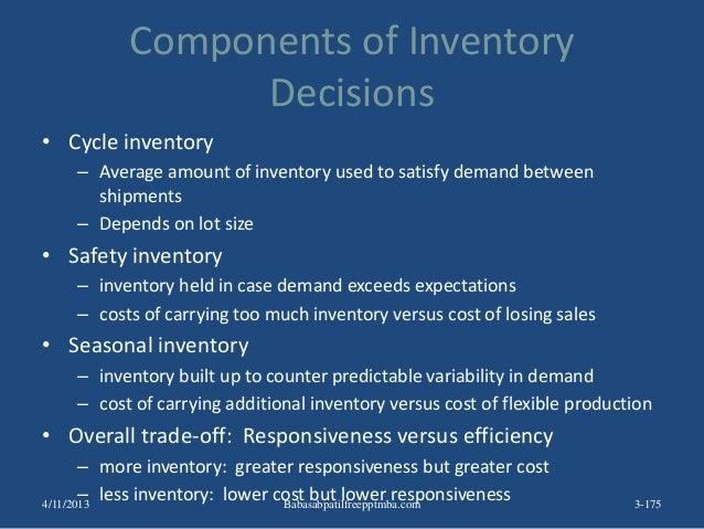 Components of Inventory Decisions • Cycle inventory – Average amount of inventory used to satisfy demand between shipments...