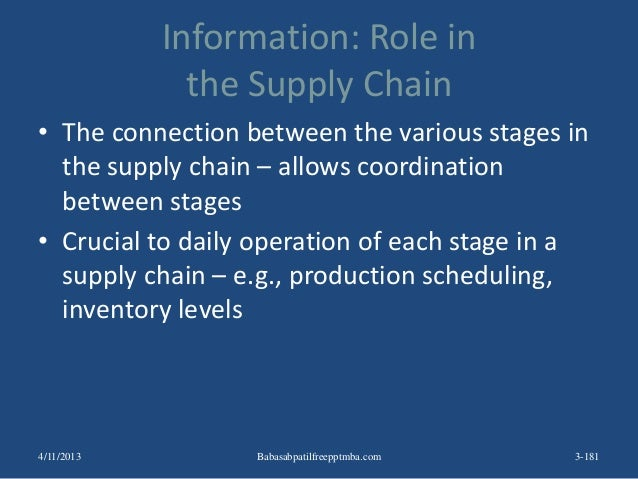 Information: Role in the Supply Chain • The connection between the various stages in the supply chain – allows coordinatio...