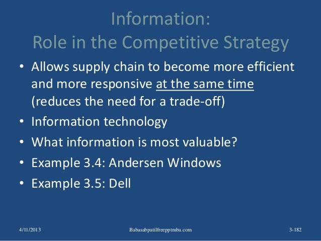 Information: Role in the Competitive Strategy • Allows supply chain to become more efficient and more responsive at the sa...