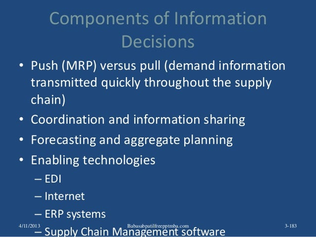 Components of Information Decisions • Push (MRP) versus pull (demand information transmitted quickly throughout the supply...