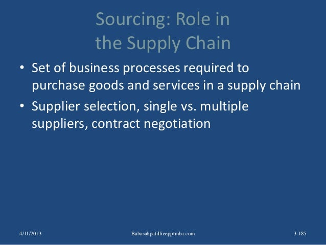 Sourcing: Role in the Supply Chain • Set of business processes required to purchase goods and services in a supply chain •...