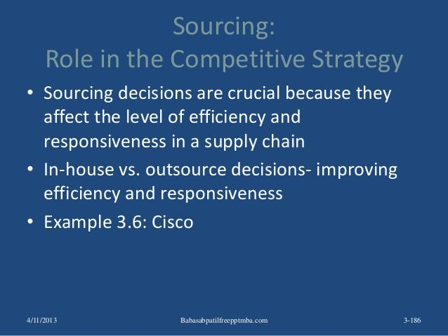 Sourcing: Role in the Competitive Strategy • Sourcing decisions are crucial because they affect the level of efficiency an...