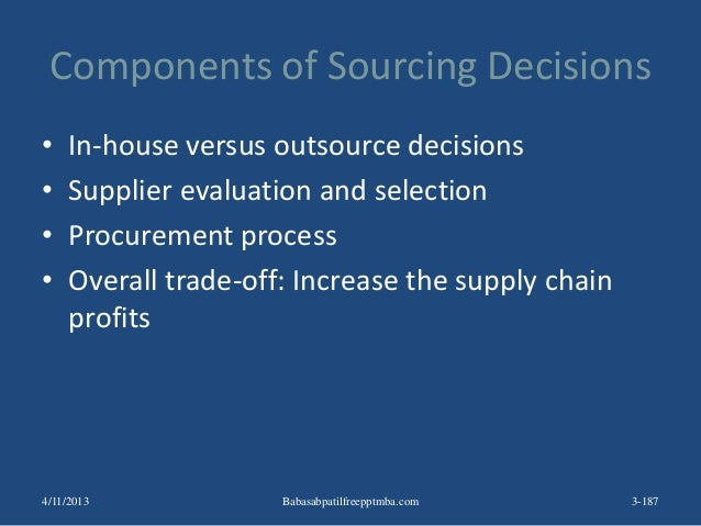 Components of Sourcing Decisions • In-house versus outsource decisions • Supplier evaluation and selection • Procurement p...