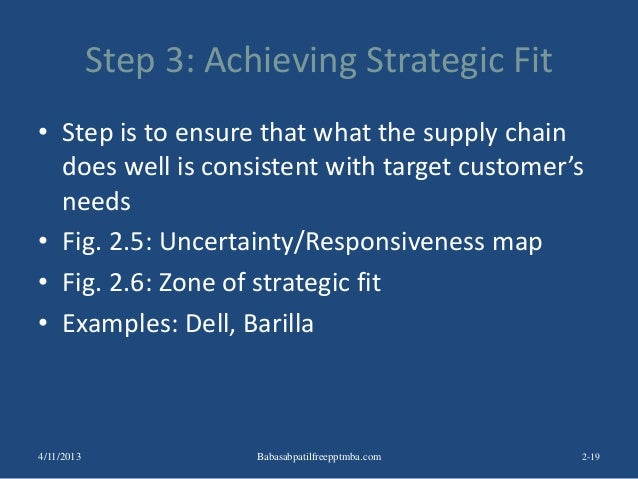 Step 3: Achieving Strategic Fit • Step is to ensure that what the supply chain does well is consistent with target custome...