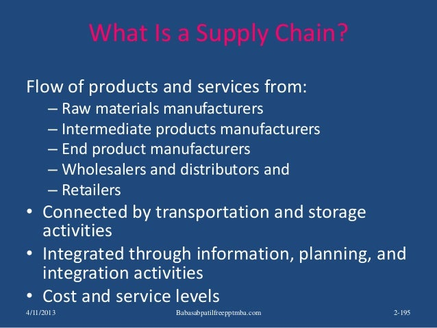 What Is a Supply Chain? Flow of products and services from: – Raw materials manufacturers – Intermediate products manufact...