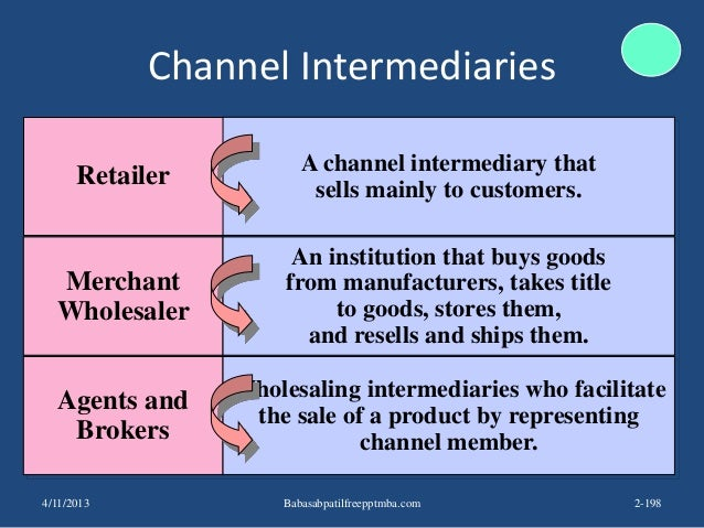 Channel Intermediaries Retailer Merchant Wholesaler Agents and Brokers A channel intermediary that sells mainly to custome...